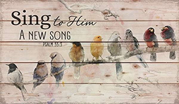Darlene Louisa Sing To Him A New Song Perched Birds On A Limb 24 X 14 Wood Pallet Design Wall Art Sign