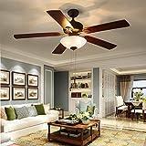 Ceiling Fan with Light 52-inch Brown 5-leaf Flush Mount Indoor Ceiling Fan Light ETL Listed for Living Room Dining Room Kitchen Restaurant