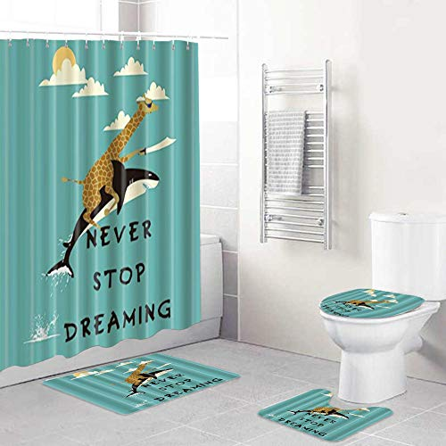 WOTAKA 4 Piece Giraffe Riding Shark Never Stop Dreaming Shower Curtain Sets with Non-Slip Rug,Toilet Lid Cover,Bath Mat and 12 Hooks for Bathroom Decor