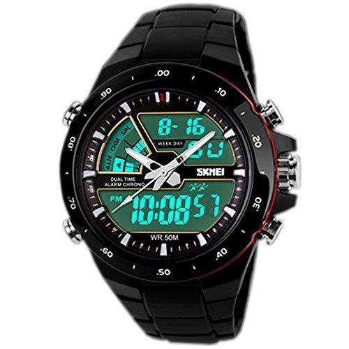 SunJas Digital Armbanduhr LED Sportuhr Stoppuhr Wecker Wasserdicht Quarzuhr Alarm in SCHWARZ