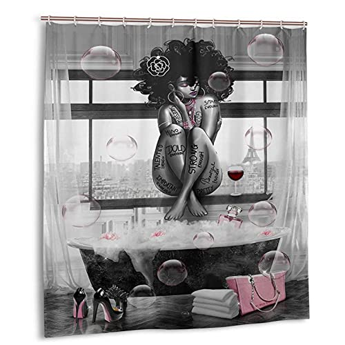 """BOLDROLE African American Shower Curtain Fashion Black Girl and Bathtub Shower Curtains 66""""x72"""" Waterproof Polyester Fabric Afro African Black Girl Bathroom Curtain with Hooks for Bathroom Decor"""