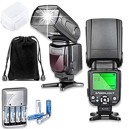 Fully Dedicated Automatic TTL Flash for Canon DSLR Cameras Including EOS Rebel T3, T3i, T4i, T5, T5i, T6, T7, T6i, T6s, T7i, SL1, SL2, EOS 60D, 70D, 77D, 80D, 5D III, 5D IV, EOS 6D, 7D, 7D II Cameras