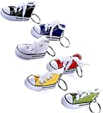 6 Pieces Canvas Tennis Shoe Key Chain Shoes Shape Key Rings Sport Style Split Keychain Set, 6 Colors