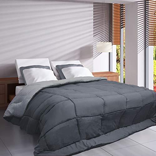 Couette bicolore Polyester Acier/Argent 140 x 200 cm - POYET MOTTE - Gamme CALGARY