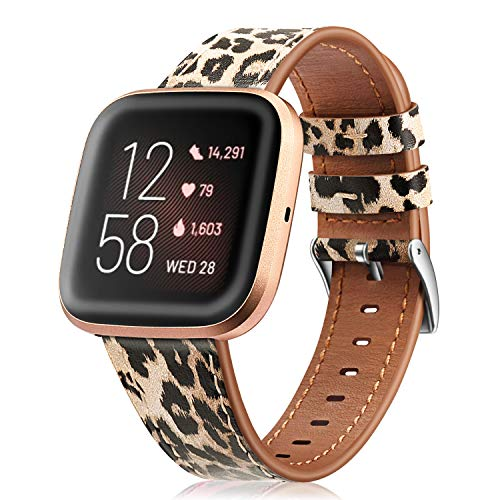 Fintie Bands Compatible with Fitbit Versa 2 / Versa/Versa Lite, Genuine Leather Band Replacement Accessories Strap Wristband, Classic Leopard