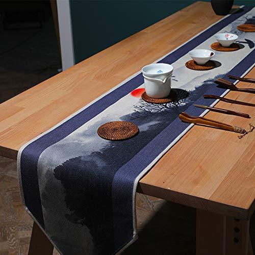 QXbecky Camino de Mesa Lino Tinta clásica Lotus Fish Mesa de Comedor Mesa de Centro Zapatero Mantel Mueble de TV Mantel Largo de té210x30cm