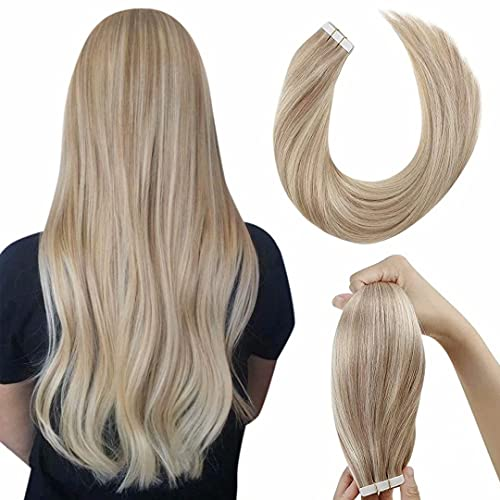 Extension Adhesive Cheveux Naturel LaaVoo Bande Adhesive Extension Cheveux Naturel Blonde Cendrée Highlight Mixte Bleach Blonde Real Hair Glue on Double Sided Tape 20Pièces/50G 20Pouce/50cm