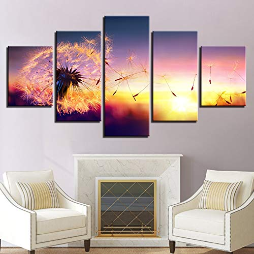 QAZWSY Wohnkultur Hd Print Poster 5 stuks bloem paardenbloem in zonsondergang canvas schilderij woonkamer muurkunst 40x60 40x80 40x100cm Frame