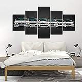 ZDDBD Póster Impreso en Lienzo decoración del hogar 5 Piezas HD BMW M M5 Pinturas de Coches Deportivos Blancos Cuadros artísticos de Pared para Sala de Estar Modular