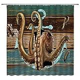 jingjiji Nautische Dekoration Duschvorhang Octopus Riesen Tentakel Meer Monster mit Anker Logo Vintage Shabby Holzbrett Pirat Schiff Sommer Ozean Badezimmer Dekoration Polyesterstoff mit Haken 70 x 70