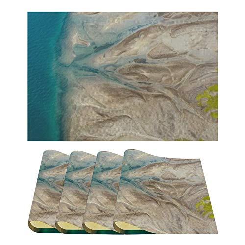 4 Stück 12x18 Zoll Esstisch, Landschaft Comau Fjord Chile, Hitzebeständige waschbare Tischsets Flachs Dekorative Küchentischmatten
