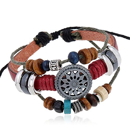 OYEFLY Vintage Bohemia Beaded Bracelet, Multilayer Hand Woven Wristbands, Hemp Cords Wrap Bracelet Jewelry for Men and Women (red)