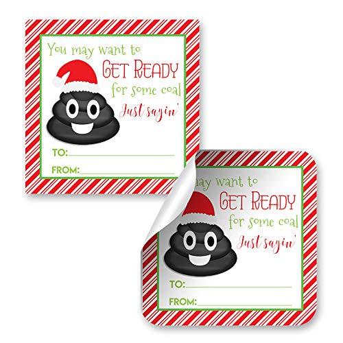 Christmas Coal Poop Emoji Gag Gift Tag Stickers
