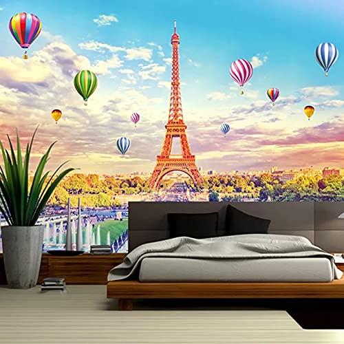 Papel tapiz mural 3D paisaje de torre cielo azul globo foto pared pintura sala de estar TV restaurante autoadhesivo 3D pegatina 250x175cm