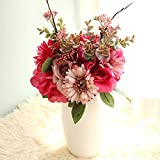 LACKINGONE Ramo de flores artificiales de seda eterna con tallos de rosas, hortensias realistas, flores blancas y rosadas de color burdeos para decoración del hogar de boda (rosa burdeos)