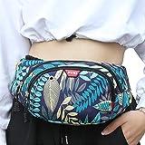 大人用ウエストバッグ、リーフプリントチェストパック女性用多目的メッセンジャーバッグ、ブルー/ブラック (Blue, 14cm*22cm)