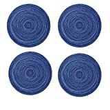 Topotdor 14 Inch Round Placemats Heat-Resistant Stain Resistant Anti-Skid Washable Polyproplene Table Mats Placemats (Set of 6, Blue)