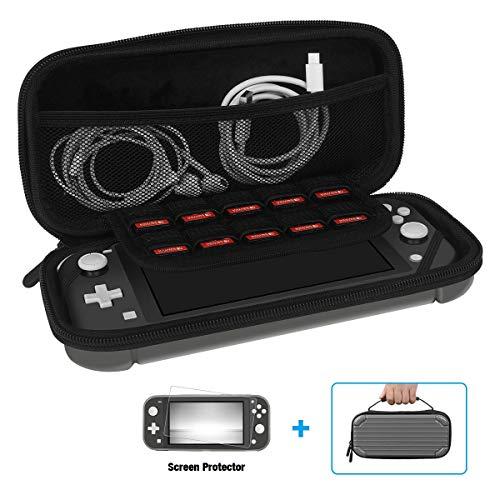 Tragetasche für Nintendo Switch Lite, gehärtetes Glas, Bildschirmschutzfolie weiches Innenfutter, Hartschale, Reise-Game-Tasche mit 10 Kartenfächern für Switch Lite