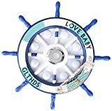 QUETAZHI lamparas Las luces del techo de música inteligente LED con control remoto, dibujos animados Mediterráneo barco azul del timón Boy dormitorio de los niños de la lámpara de habitaciones, 65cm 4