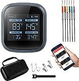 Termómetro digital inalámbrico para alimentos, 4YANG, con Bluetooth, inalámbrico, con 6 sondas de colores, temporizador, alarma, pantalla LCD, para ahumador, horno, compatible con iOS y Android