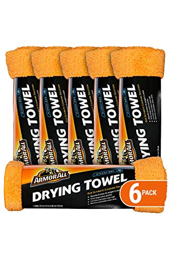 Armor All Microfiber Car Drying Towels, Cleaner for Cars & Truck & Motorcycle, Supersoft, 6 Pack, 17621-6PK