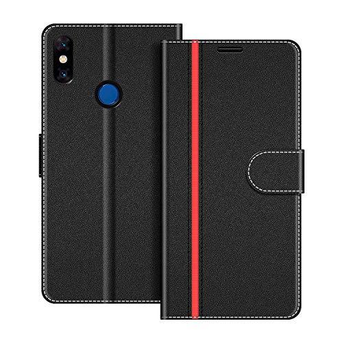 COODIO Handyhülle für Xiaomi Mi Mix 3 Handy Hülle, Xiaomi Mi Mix 3 Hülle Leder Handytasche für Xiaomi Mi Mix 3 Klapphülle Tasche, Schwarz/Rot