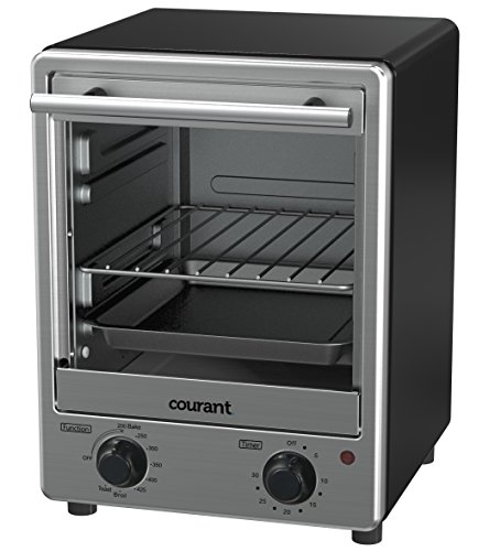 Courant Toaster Oven Space Saving Design Toastower Tempered Glass Door Stainless Steel