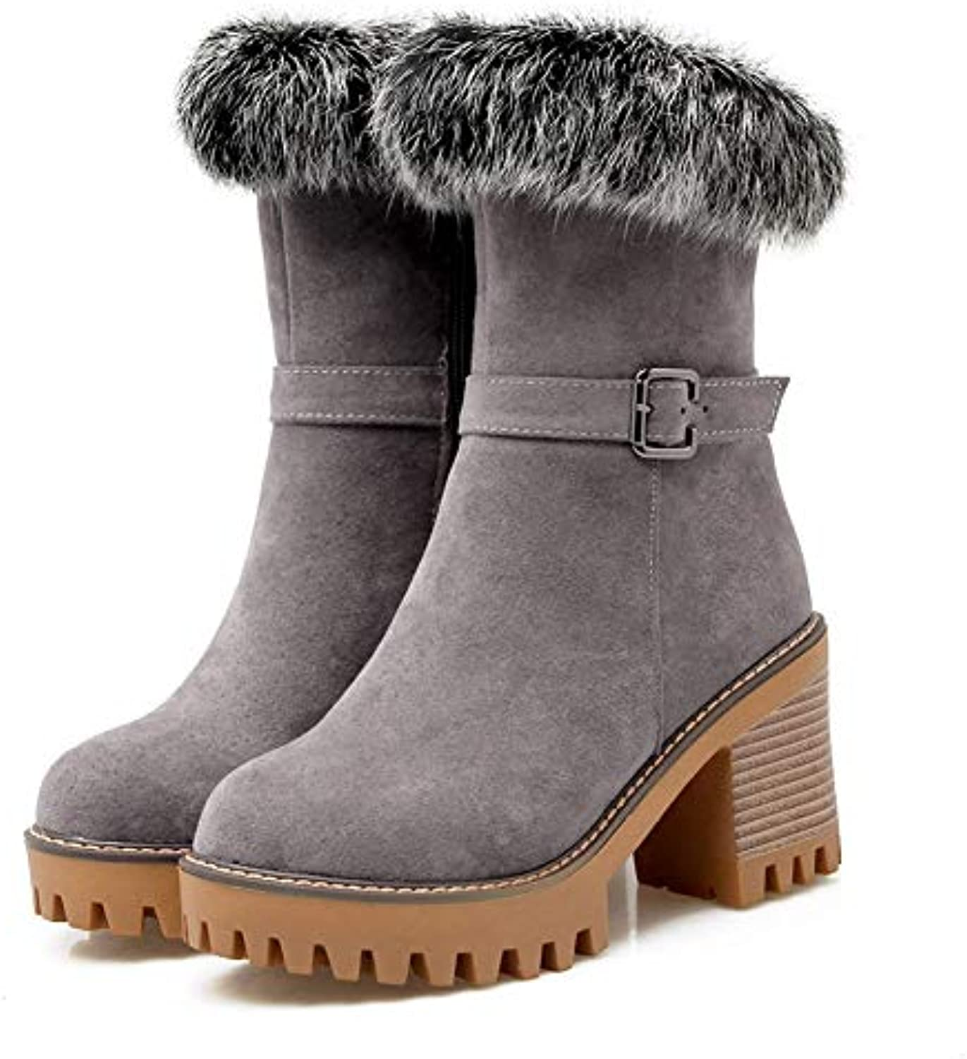 T-JULY Winter Warm Plush Women shoes High Heels Platform Fur Snow Boots