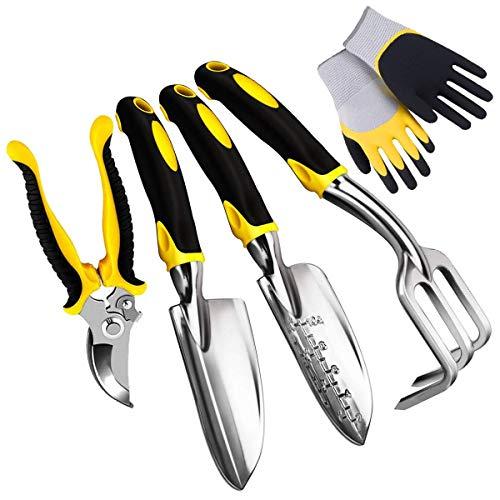 E-More Gartenwerkzeug Set Gartengeräte Set aus Edelstahl, 5-teiliges Garten Werkzeug Set mit Gartenschere/Handkelle/Pflanzmaschine/Handrechen/Gartenhandschuhen