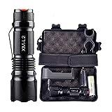 Riou X800 LED Tactical Militär Taschenlampe 10000 Lumen Extrem Hell Zoom Aufladbar Wasserdicht Flashlight für Outdoor, Wandern, Camping (mit 18650 Akku) (Schwarz)