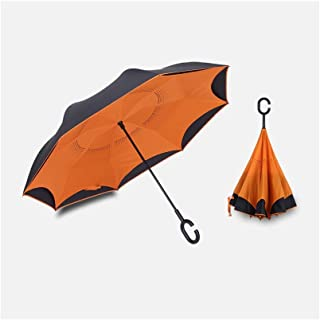 QCRLB Automatic Reverse Umbrella Double-Layer Umbrella-Free Umbrella Long-Handle Umbrella Foldable Stand-up Umbrella Multi-Color Optional Umbrella (Color : Orange)