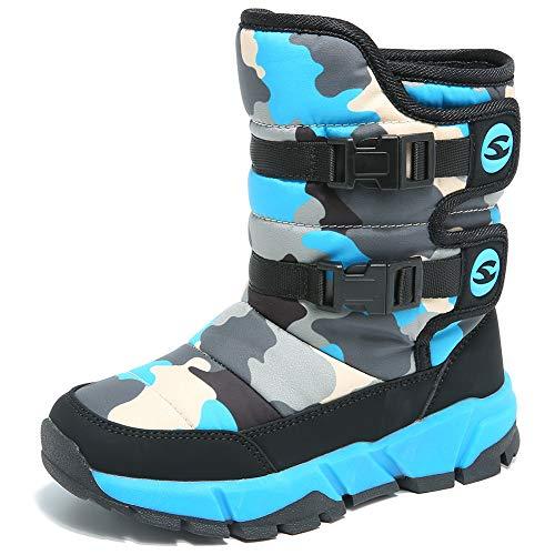 IceUnicorn Kinder Winterstiefel Jungen Mädchen Winterschuhe Schneestiefel Warm Gefütterte Outdoor Stiefel Winter Schuhe Snowboots(55.B/Blau, 32EU)