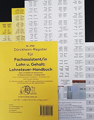 DürckheimRegister BMF-Lohnsteuerhandbuch/EStG. Fachassistent LOHN + GEHALT (2020): 141 Registeretiketten (sog. Griffregister) für das BMF ... LStG) • In jedem Fall auf der richtigen Seite