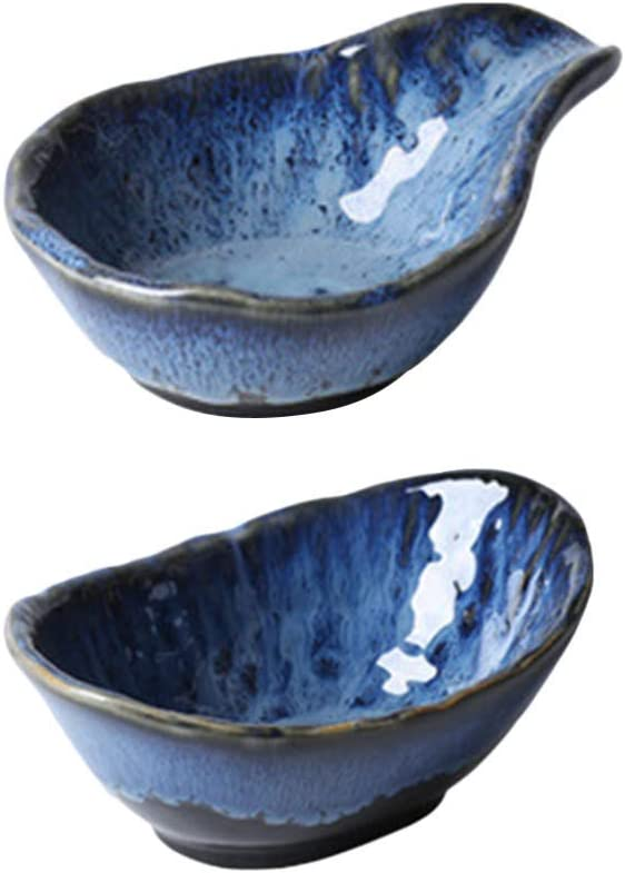 Spasm price HAOGUO 2pcs Max 62% OFF Ceramic Soy Sauce Dishes App Dipping Cold Bowls Dish