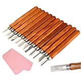 Kereda Wood Carving Tools Knife Kit 12 Piect-Set with Fabric for Beginners Carve Rubber, Small Pumpkin, Soap, Vegetables