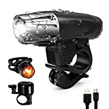 Bike Bicycle Light Set Rechargeable - Super Bright USB Rechargeable LED Bicycle Lights Front and...