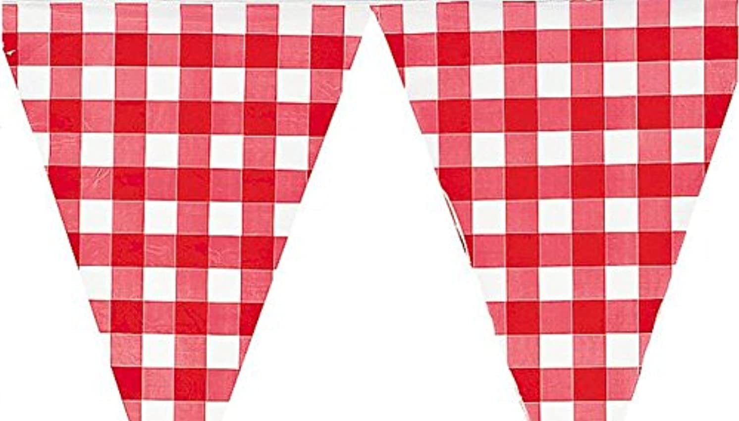 Large Red and White Checkered Gingham pennant banner - 24 feet long