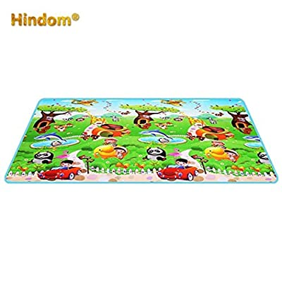 Hindom 78.7''x 10.2''x 0.2'' Baby Care Play Mat Foam Floor Gym - Non Toxic -Non Slip, Reversible Waterproof, Pingko and Friends, Large