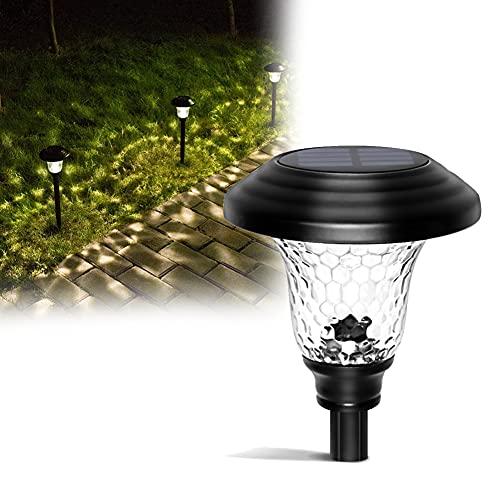Luces Solares LED Exterior Jardin, IP44 Lamparas Exterior Impermeable, Encendido/Apagado Automático Acero Inoxidable Blanco Cálido para Patio, Césped, Pasillo