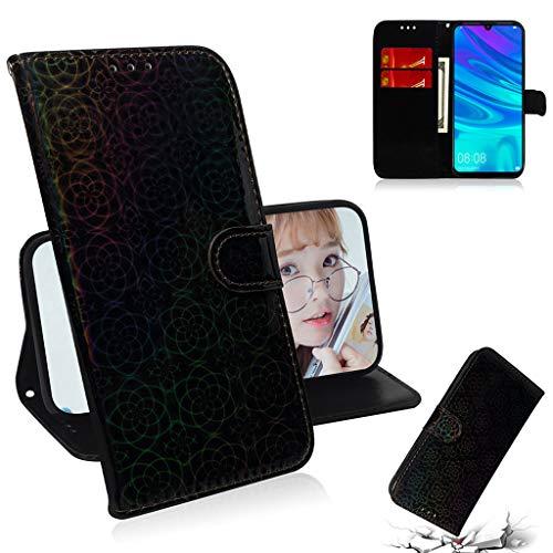 Careynoce Hülle für Huawei Enjoy 9s/Honor 10i,Luxus Premium Geprägte Pure Farbe Leather Brieftasche Flip Cover - Magnetisch Ständer Kartenfach Schutzhülle für Huawei Enjoy 9s/Honor 10i - Schwarz