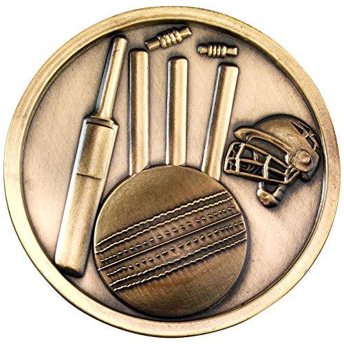 Trophy Shack Cricket-Medaillon, Antik-Gold, 70 mm, mit kostenloser Gravur bis zu 60 Buchstaben, MP306AG