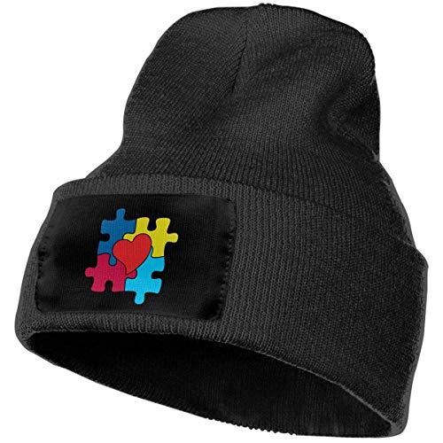 Wfispiy Erwachsenen Schädel Kappen Puzzle Autismus Bewusstsein warme Strickmütze Hut