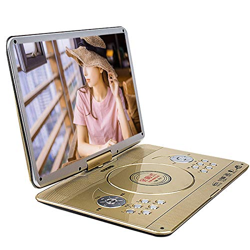BCAWAN 18-inch Portable DVD Player, Portable Game evd Reading Machine Player Ultra-Thin high-Definition Display with Large Rotating Screen and Long-Lasting Built-in Battery, no Zone, Stereo,Gold
