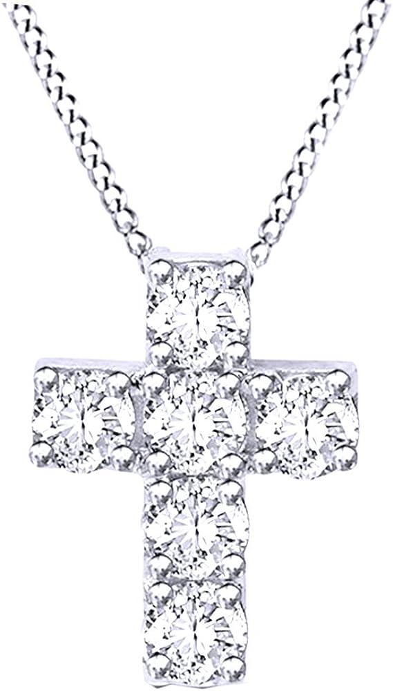 メーカー在庫限り品 Jewel Zone US White Natural Diamond Pendant 日本製 Cross Necklace Tall