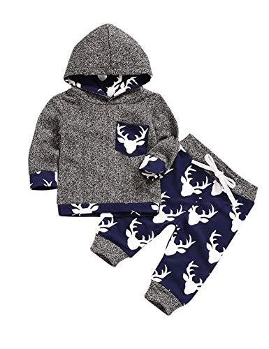 Conjunto de ropa con estampado de cabeza de ciervo para recién nacido y pantalón para bebé Gris Gris-1 0-3 Meses