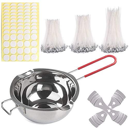 TOCYORIC Kit para hacer velas, recipiente para fundir velas y 300 unidades de mechas enceradas, mecha plana con 2 mechas de acero inoxidable y 300 pegatinas de doble cara