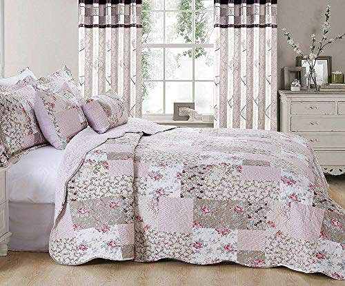Householdfurnishing 3 Piece Printed Patchwork Bedspread Quilted Bed Throw Comforter with Pillow Shams (Zurich, Single)
