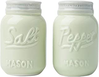 Vintage Mason Jar Salt & Pepper Shakers by Comfify - Adorable Decorative Mason Jar Decor for Vintage, Rustic, Shabby Chic - Sturdy Ceramic in Green - 3.5 oz. Cap.