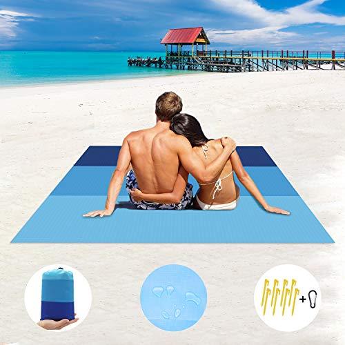 Annhao Coperta da Spiaggia, 210x200cm Tappetino da Picnic Anti Sabbia Impermeabile...