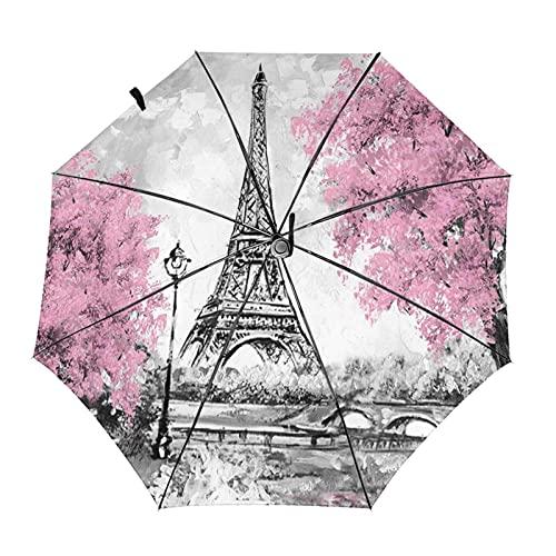 Donono Automatico Tri-Fold Ombrello 3D Torre Eiffel Alberi Rosa Dipinti Antivento Protezione Uv Ombrelli Pioggia Interno Stampa Per Uso quotidiano